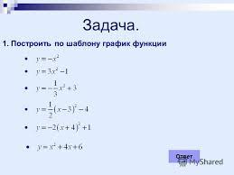 Презентация на тему Курсовая работа Малафеевой О Ю школы  Построить по шаблону график функции Ответ
