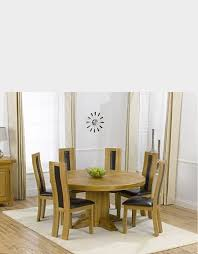 oak furniture super ex display torino 150cm solid oak round pedestal dining table with 4
