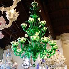 green glass chandelier murano italy
