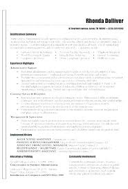 Summaries For Resumes Examples Summary Examples For Resumes Job