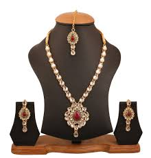 Jai Jewelry Designer Touchstone Indian Bollywood Kundan Look Cabochon Red Faux Ruby And Jaipuri Meenakri Designer Bridal Jewelry Haar Necklace Set In Gold Tone