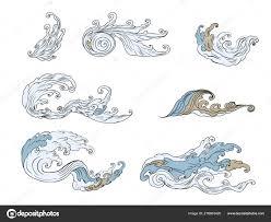 линия тайской волны татуировки японский набор вектора волн тайский