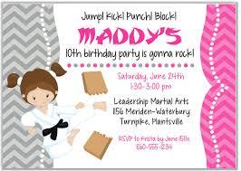 Karate Tae Kwon Do Martial Arts Birthday Party Invitations Girl Karate Kids Birthday