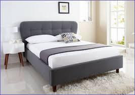 Gray Upholstered King Storage Bed Frame Black Acrylic Feet Low Upholstered  Bed White Mattress Added Brown Blanket Platform Beds Upholstered Bed Frame  With ...