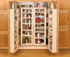 Simple Kitchen Area with Light Wood 2 Doors Pantry Cabinet Freestanding, 6  Shelves Insert Decoration