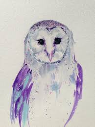 Original Barn Owl Painting In Purple Tones Perfect By Limbtrim
