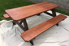 how to stain a picnic table outdoor
