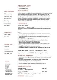 Personal Qualifications Statement Loan Officer Resume Example Sample Banks Mortgage