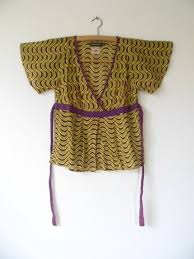 90s French Antik Batik Vintage Bohemian Hippie Lightweight Cotton Yellow Abstract Tribal Print Waist Tie Blouse Top Womens Xsmall Small Xs S