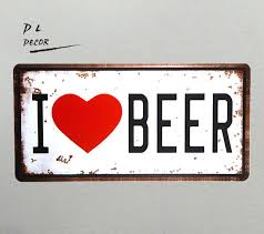 dl i love beer vintage license plate cafe shop bar home