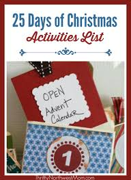 Calendar Countdown Days Celebrating The 25 Days Of Christmas Activities List Christmas