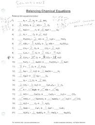 worksheet writing and balancing chemical reactions answer equations practice complete answers