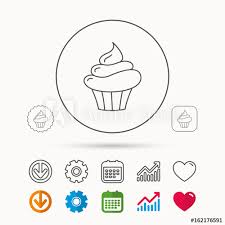 Cupcake Icon Dessert Cake Sign Delicious Bakery Food