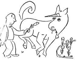 the unicorn in the garden  unicorninthegarden jpg detail from james thurber s original illustration