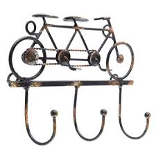 tandem bicycle metal wall decor with hooks