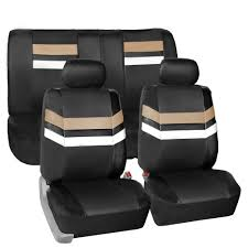 beige pu leather car seat covers front rear full set synthetic leather auto 0