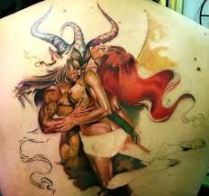 красивая татуировка на спине у парня дьявол и девушка фото