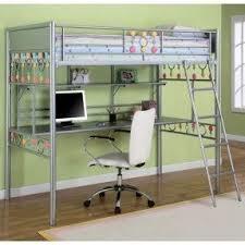 Metal bunk bed with desk