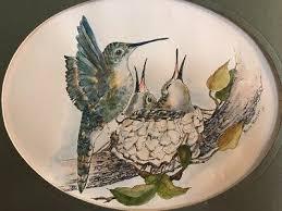 MERLE WHEELER HUMMINGBIRD Hand Painted Watercolor On Print Painting! -  £29.42 | PicClick UK