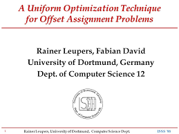 rainer leupers university of dortmund computer science dept  1 rainer leupers university of dortmund computer science dept