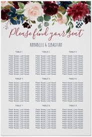 Seating Chart Burgundy Blue Floral Wedding Zazzle Com