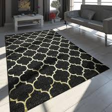 Teppich Marokkanisches Muster Schwarz Gold Teppichcenter24
