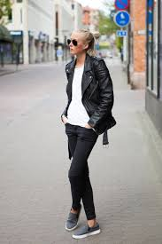 ellen claesson is wearing a black biker leather jacket from blk denim whitet shirt