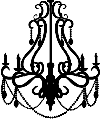 clip black and white library chandelier