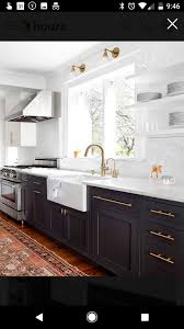 Houzz Transitional Kitchen Wood Floor Dark Cabinets Kitchen
