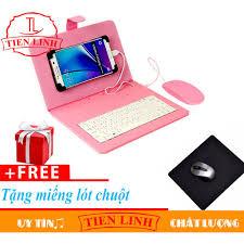 Bao Da Tích Hợp Bàn Phím + Chuột Cho Điện Thoại, Máy Tính Bảng Android Từ 4  đến 7 Inch Có Dây + Miếng Lót Chuột (Hồng)