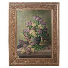 g corbier oil painting of lilac flowers with carved gilt frame for