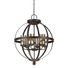 sea gull lighting 3110406 715 autumn bronze sfera 6 light chandelier with mercury glass shades lightingdirect com