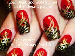 Nail Art Diy Red Nails With Stripes Black And Gold Nail Design