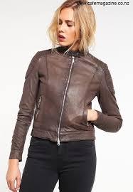 goosecraft biker leather jacket brown jackets go221l016 o11 elevate women s bghjorsy13