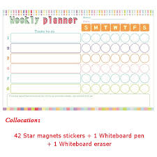 Weekly Star Chart Us 28 0 Kids Reward Stickers Magnetic Reward Chart Wall Stickers For Child Calendar Fridge Magnets Dry Erase Board Home Weekly Planner In Fridge