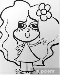 Poster Schattig Meisje Cartoon Kleurplaat Pixers We Leven Om Te
