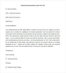 Letter Recommendation Sample Job Template Applying For Of Samples