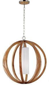feiss allier brushed steel 1 light small pendant globe light oak