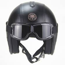 free 3 4 helmet pu leather helmets motorcycle chopper bike open face vintage motorcycle