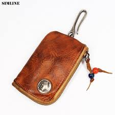 2019 genuine leather key wallet men mens short vintage handmade zipper car key holder coin purse