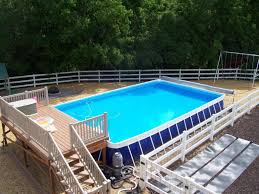 Fine Intex Above Ground Pool Decks Of Ultra Frame Swimming Pools With Design Ideas