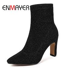 <b>ENMAYER</b> New <b>Women Ankle Boots</b> Pointed toe Square heels lady ...