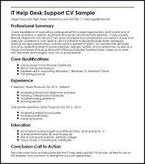 Help With Job Application It Help Desk Support Cv Sample Myperfectcv