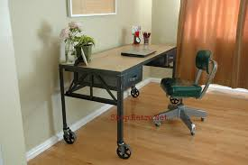 industrial furniture wheels. French Vintage Industrial Steel And White Oak Desk On Casters. - Http:// Furniture Wheels