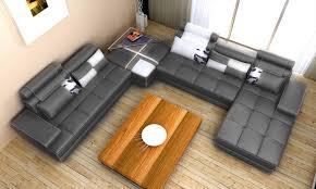 divani casa phantom modern grey leather sectional sofa with ottoman and glass end table