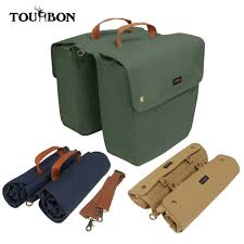 <b>Tourbon Vintage</b> Canvas <b>Bike Panniers Bicycle</b> Handlebar <b>Bag</b> ...