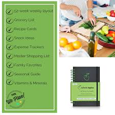 Amazon Com Weekly Meal Planner With Grocery List Recipe Cards And