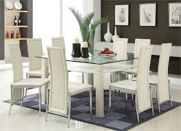 glass dining room table set. modern cream \u0026 chrome glass dining table w/ six chairs room set h