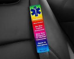 medical alert seat belt cover with