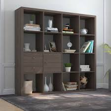 Boeberg Bookshelf (Dark Walnut Finish, 4 x 4 Configuration, 1 Cabinet, 1